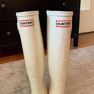 HUNTER White Tall Rain Boots